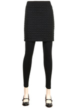 ililily Chic Bumpy Circle Skirt Attached Footless Slim Stretchy Leggings