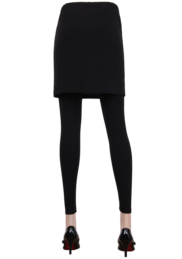 ililily Solid Black Color Sexy Skirt Skinny Footless Leggings