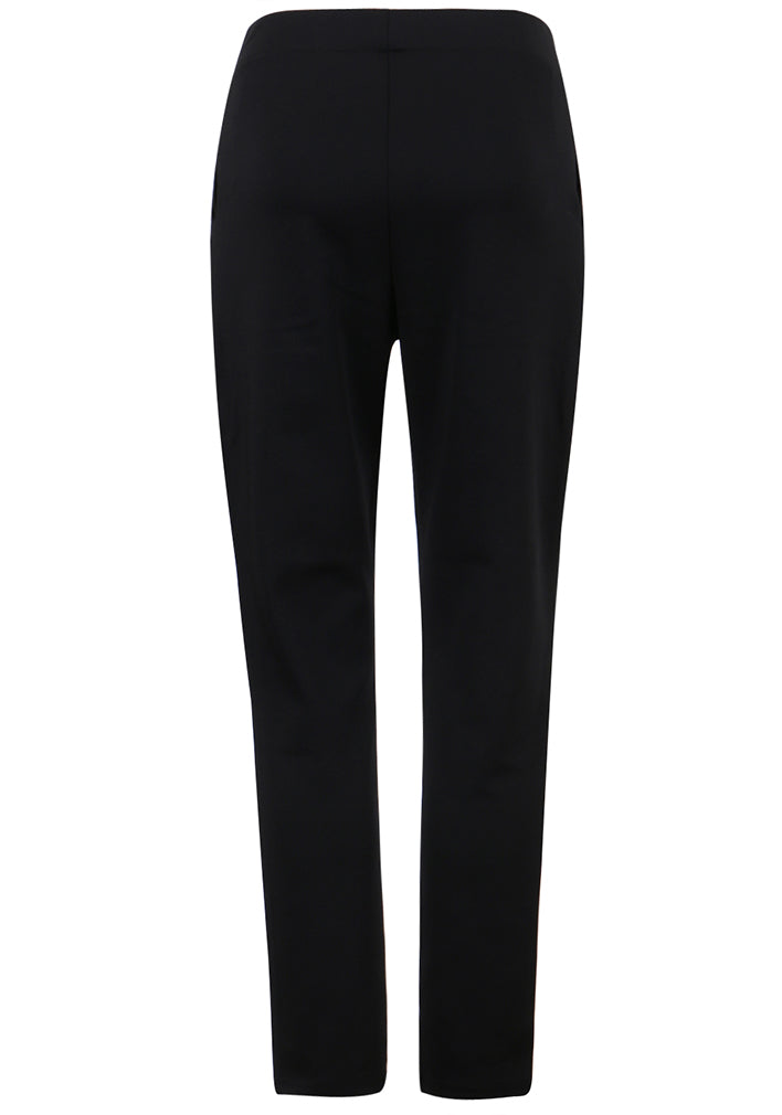 ililily Solid Color High-waist Stretch Waistband Straight Fit Pants Trouser