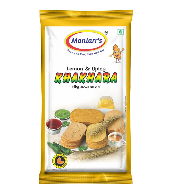 Maniarr's LEMON & SPICY Khakhra (8 packs, Single Flavor, 360 gms)