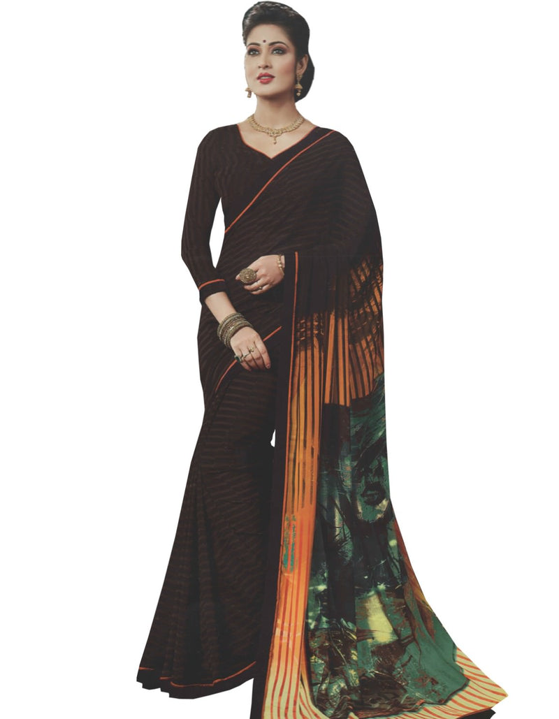 Georgette Digital Printed Saree With Blouse-Dark Brown Color Saree