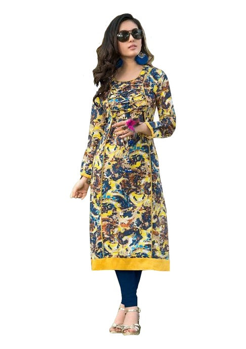 Multicolor Round Neck Printed Casual Women's Kurti