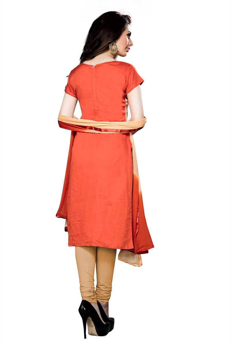 Womens Designer Orange Cotton Partywear Salwar Suit Dress Material For Womens