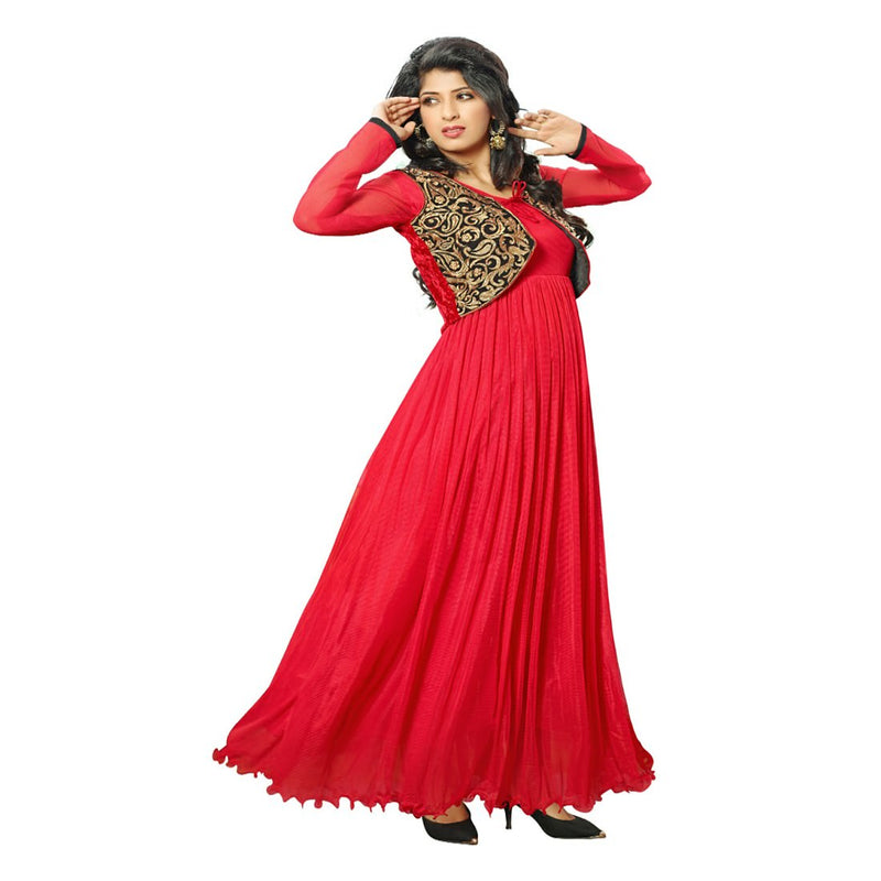 Net Fabric Red Color Long Gown