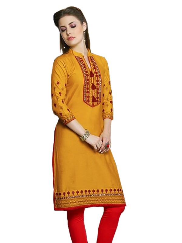 Long Kurti With Linen And Cotton Slub