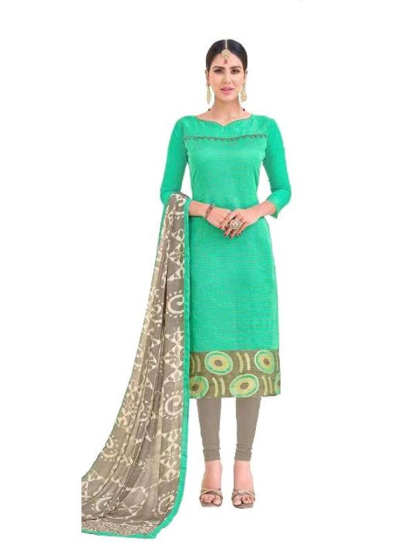 Green With Grey Bottom Salwar Material
