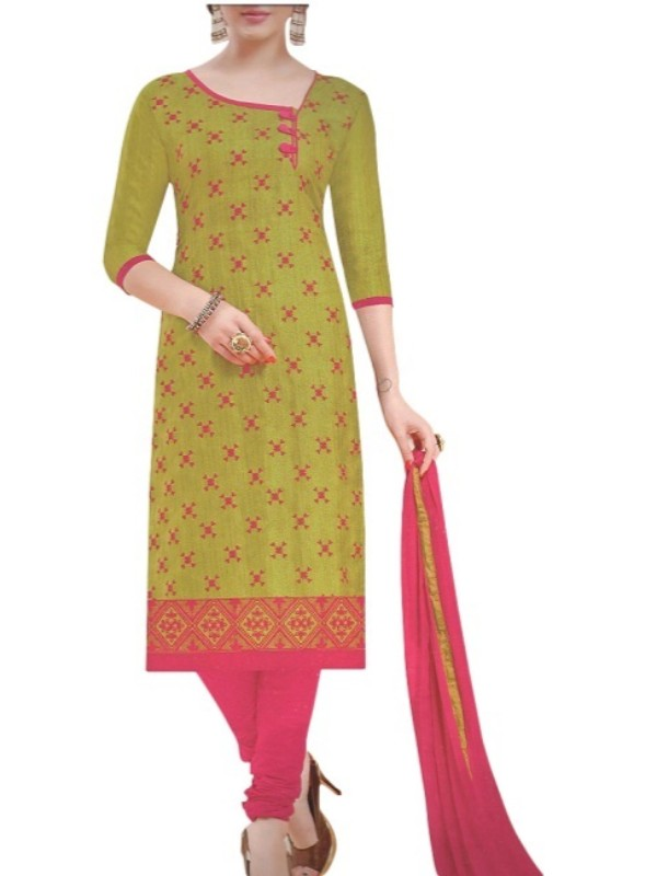 Green Embroidered Bhagalpuri Unstitched Silk Dress Material For Women