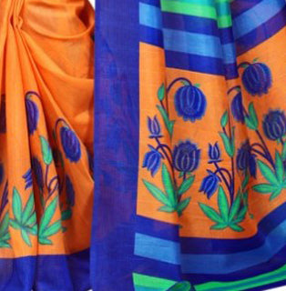 Printed Bhagalpuri Art Silk Orange with BlueColor Saree