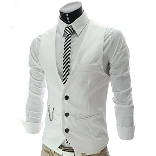 White Color Classy Solid Polycotton Men's Waistcoat