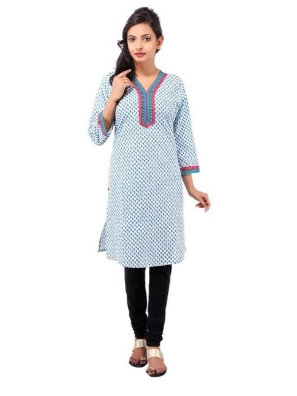 Women's  Cotton Printed V Neck Straight Kurti