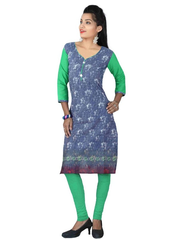 Green and Blue Cotton Printed Casual Kurti