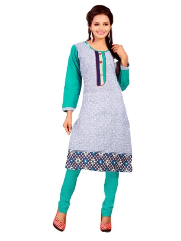 Grey and Turquoise Printed Women's Kurta