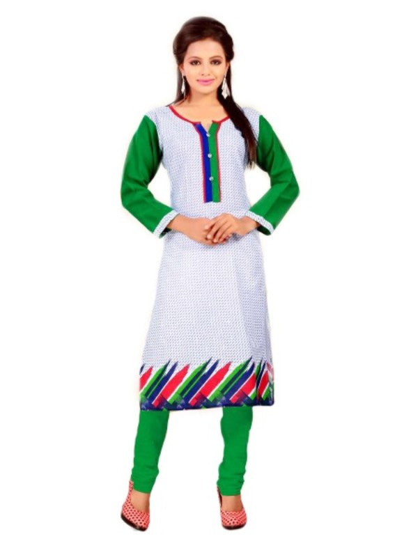 Grey and Green Printed Casual Women's Kurti