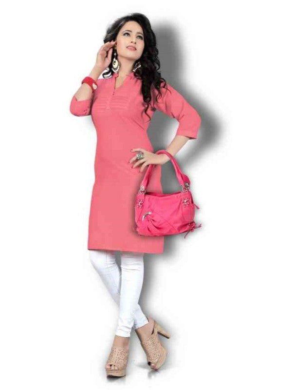 Women's Carrot Pink Solid Thigh Length Kurta
