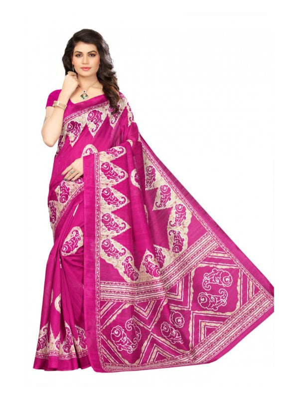 Printed Bhagalpuri Art Silk Magenta with Sandal Color