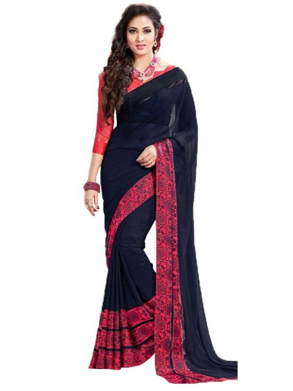 Georgette Digital Saree With Blouse-Navy Blue