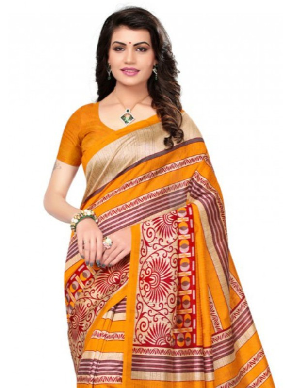 Printed Bhagalpuri Art Silk Yellow with Multicolor Saree