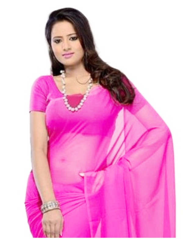Plain Georgette Saree for Women-Light Magenta