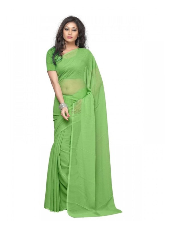 Plain Georgette Saree for Women-Mint Green