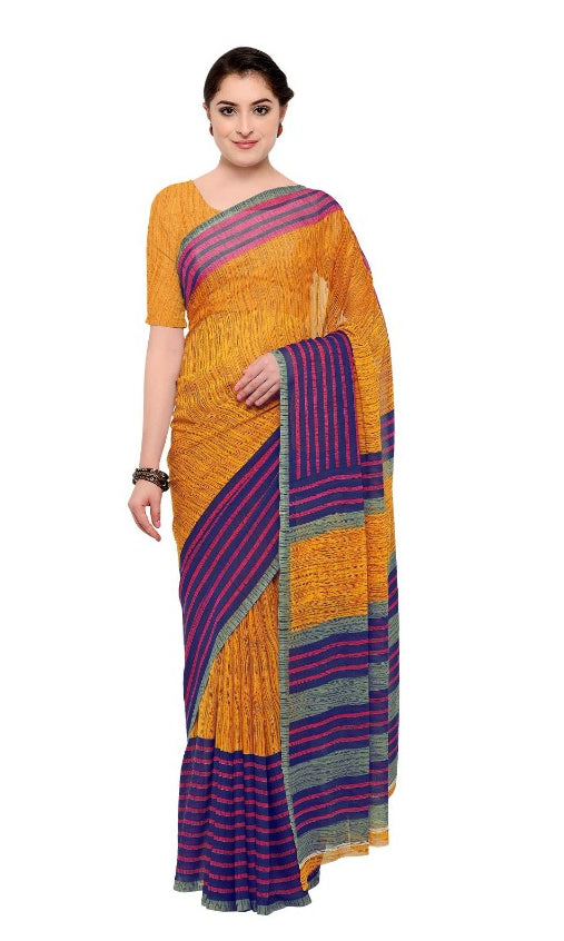 Orange & Blue Color Printed Georgette Saree / sari  With Blouse