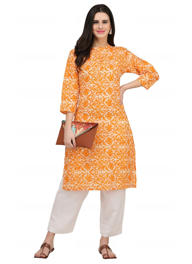 Light Orange Color Cotton Kurti