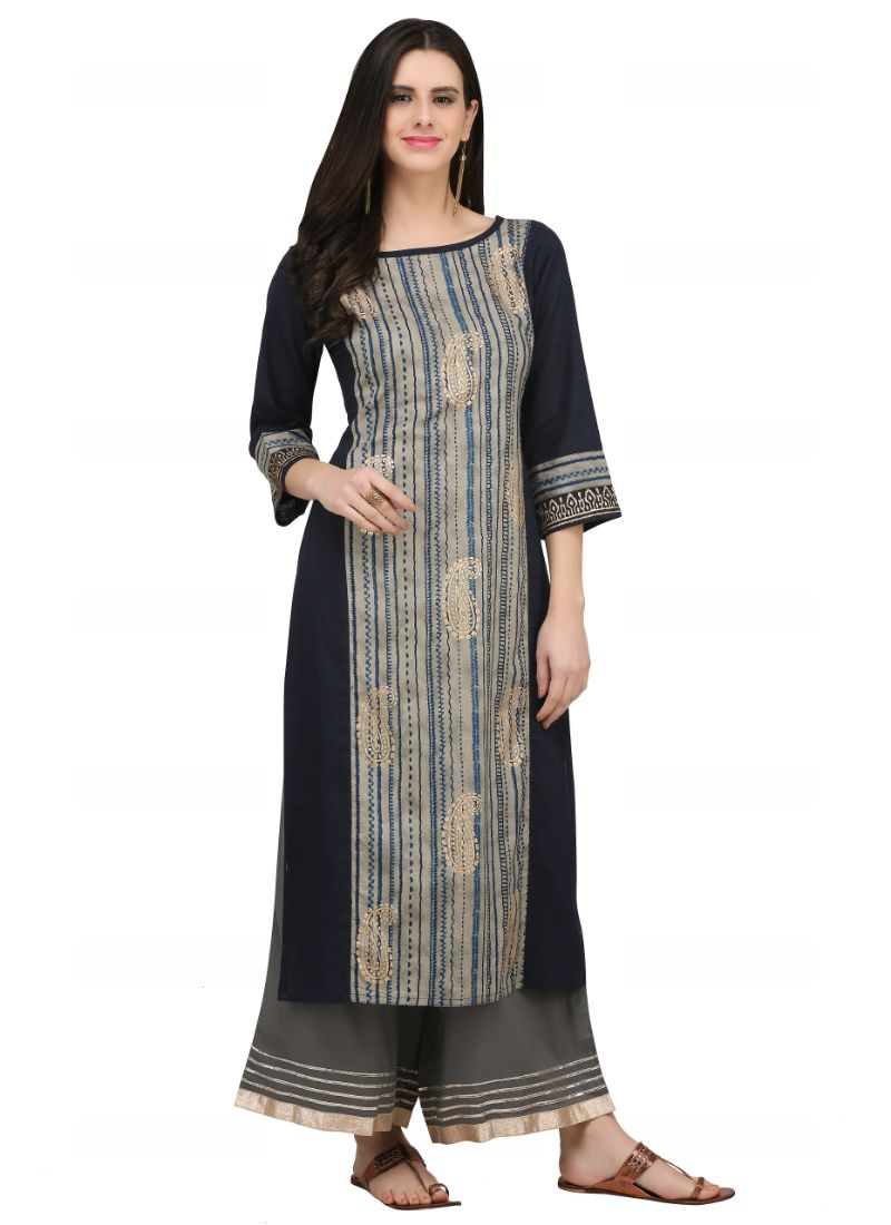 Black And Multi Color Cotton Kurti