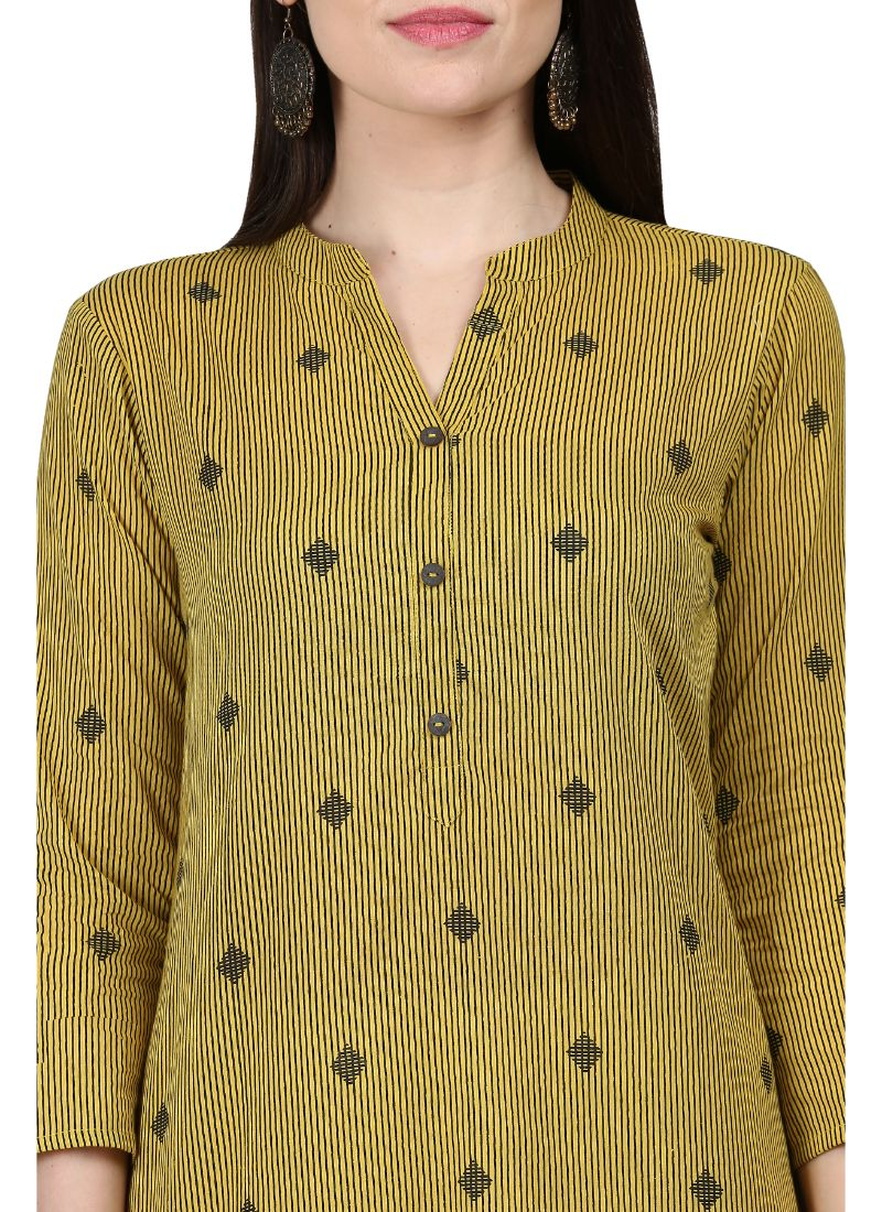 Light Green Color Cotton Kurti
