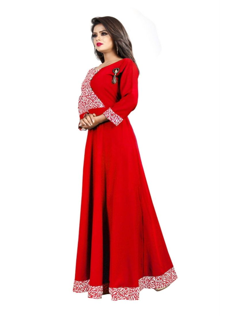 Red Color American Crepe Gown