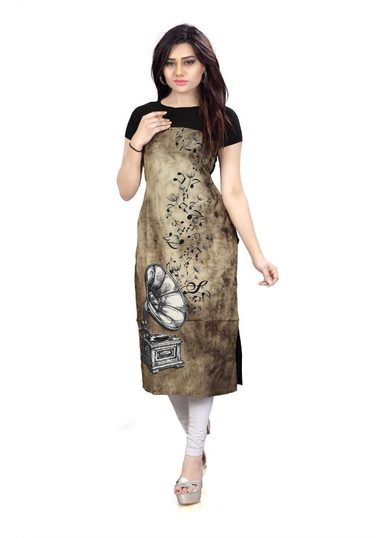 Brown And Black Color Crepe Kurti