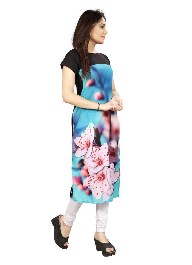 Blue And Black Color Crepe Kurti