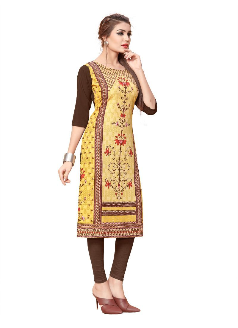 Yellow And Brown Color Crepe Kurti