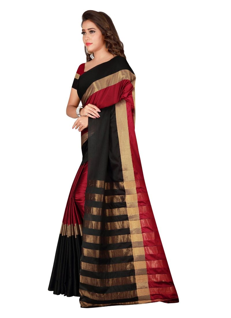 Black , Red Color Cotton Saree with Blouse