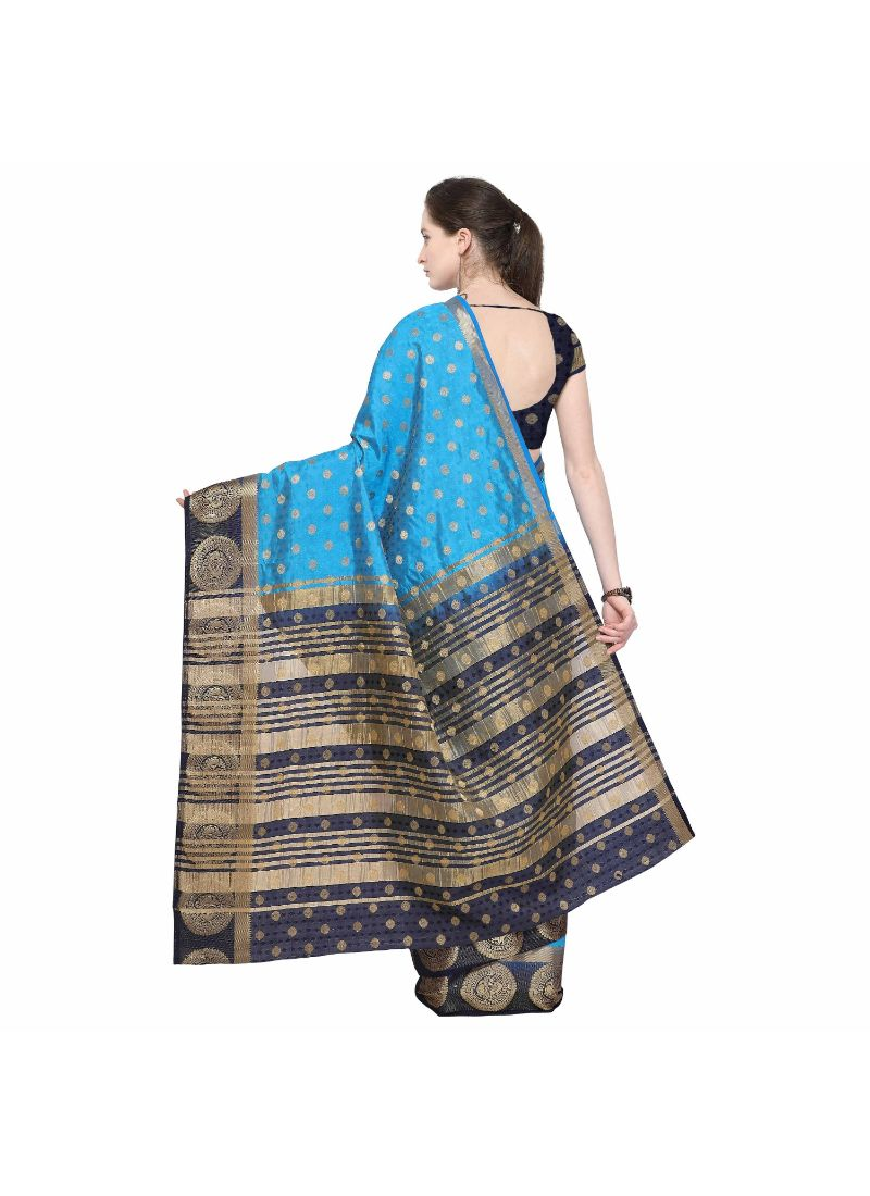 Blue Color Silk  Saree with Blouse
