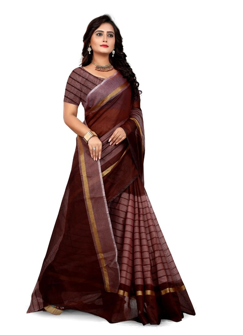 Brown Color Rustam Silk  Saree