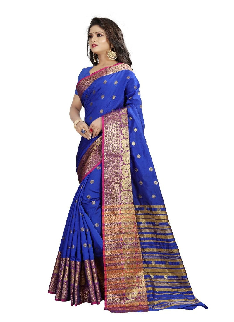 Blue Color Printed Cotton Silk Saree With Blouse