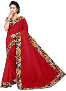 Red Color Printed Chanderi Silk Saree With Blouse