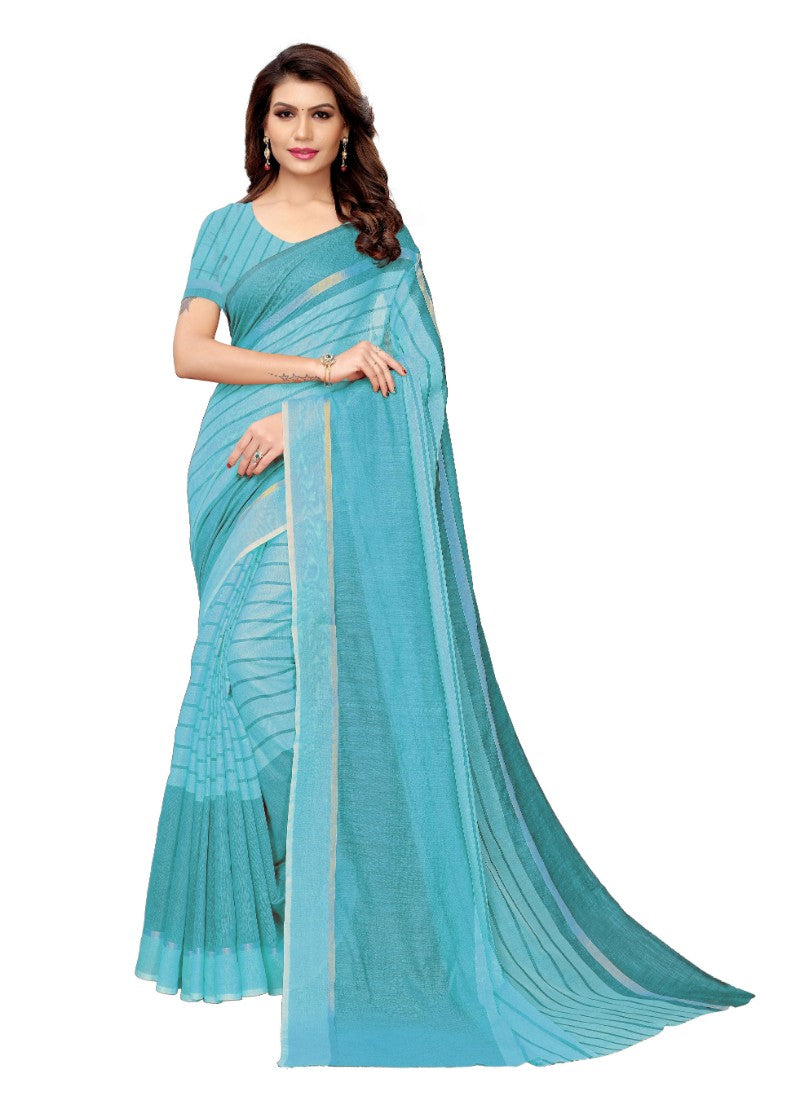 Sky Blue Color Printed Cotton Silk Saree With Blouse
