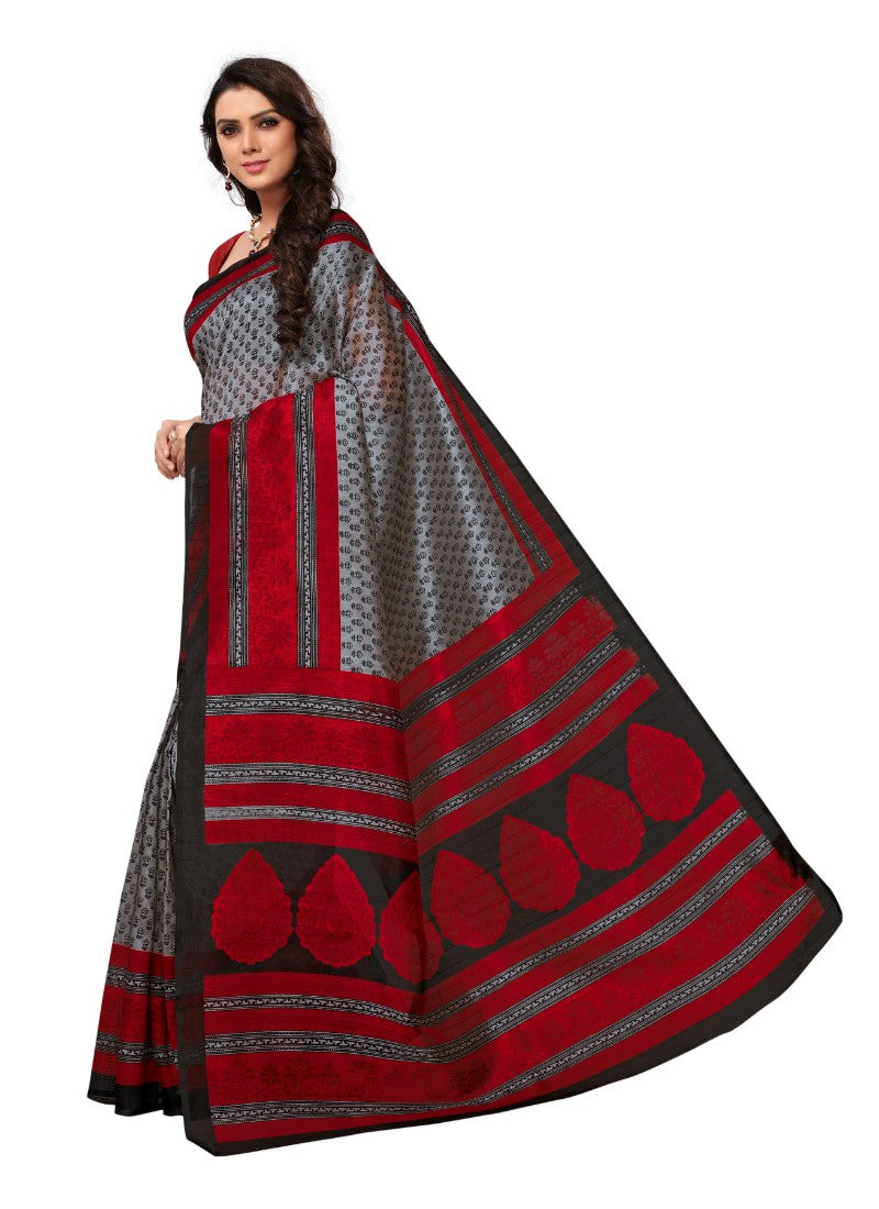 Maroon and grey Color Printed Bhagalpuri Silk Saree With Blouse