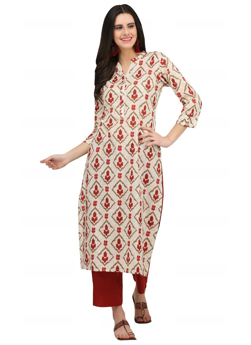 Offwhite And Brown Color Cotton Kurti