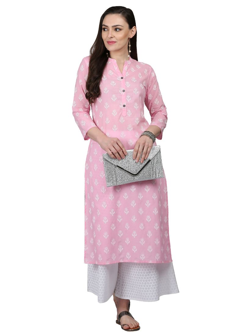 Light Pink Color Cotton Kurti