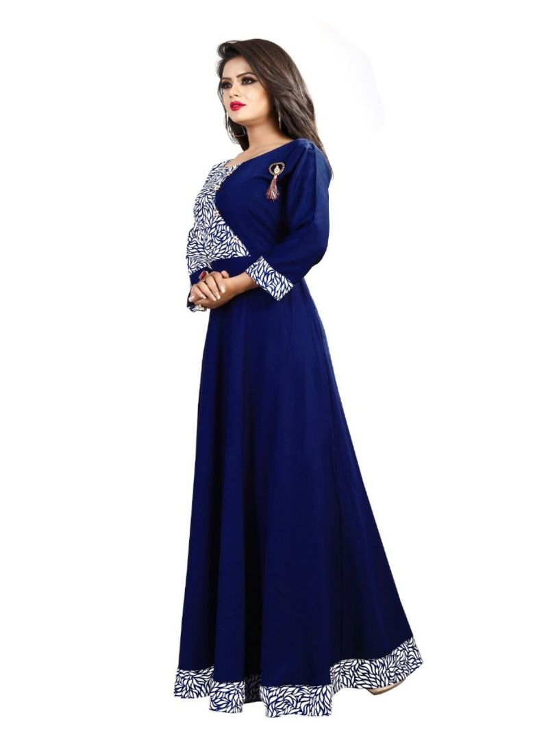 Blue Color American Crepe Gown