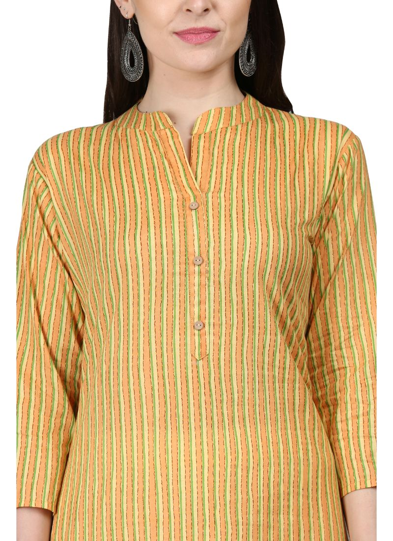 Light Yellow Color Cotton Kurti