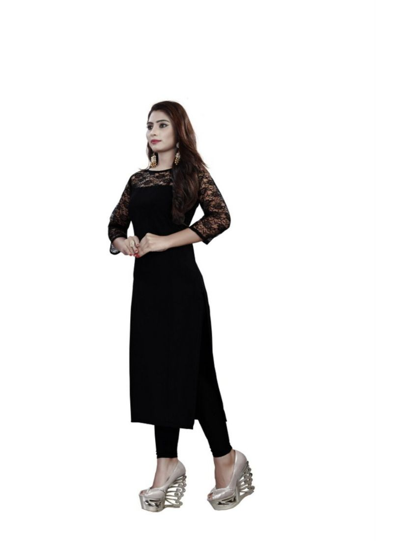 Black Color American Crepe Kurti
