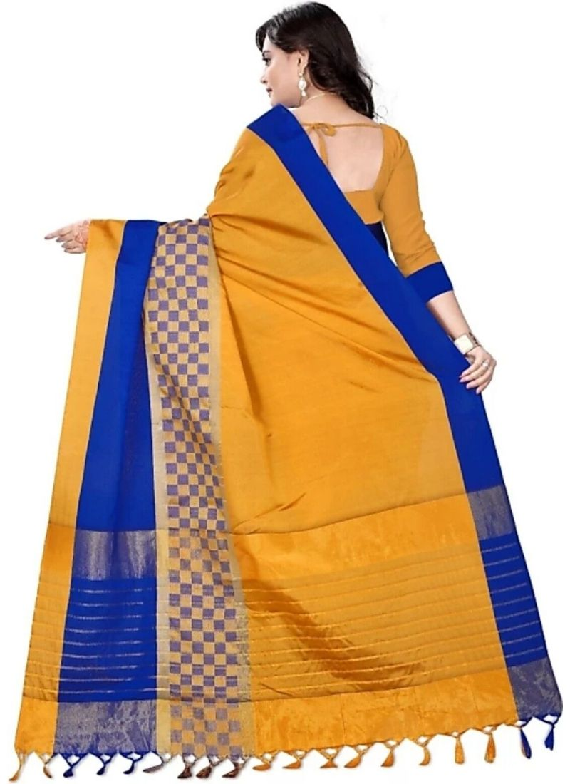 Yellow Color Cottn Silk  Saree