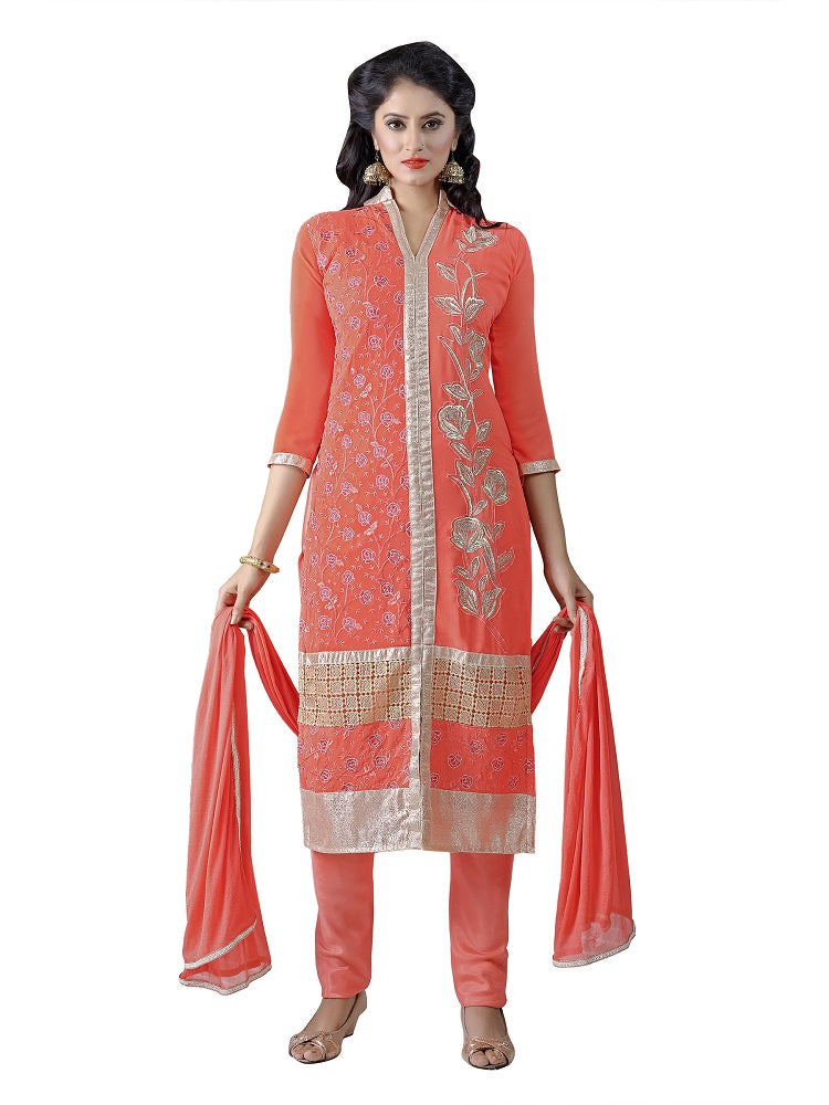 Women's Women's Georgette Embroidered Dress Material (MDKYR05 Orange)