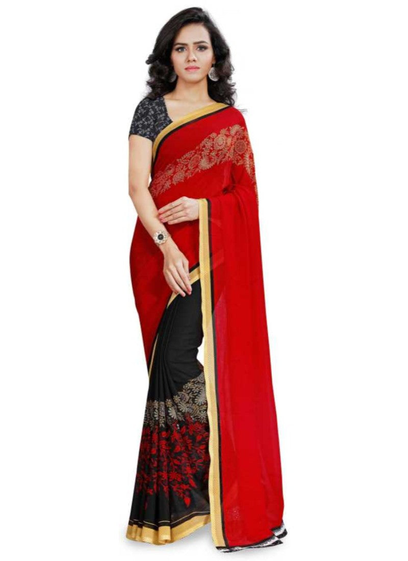 Printed Faux Georgette Red Color Saree