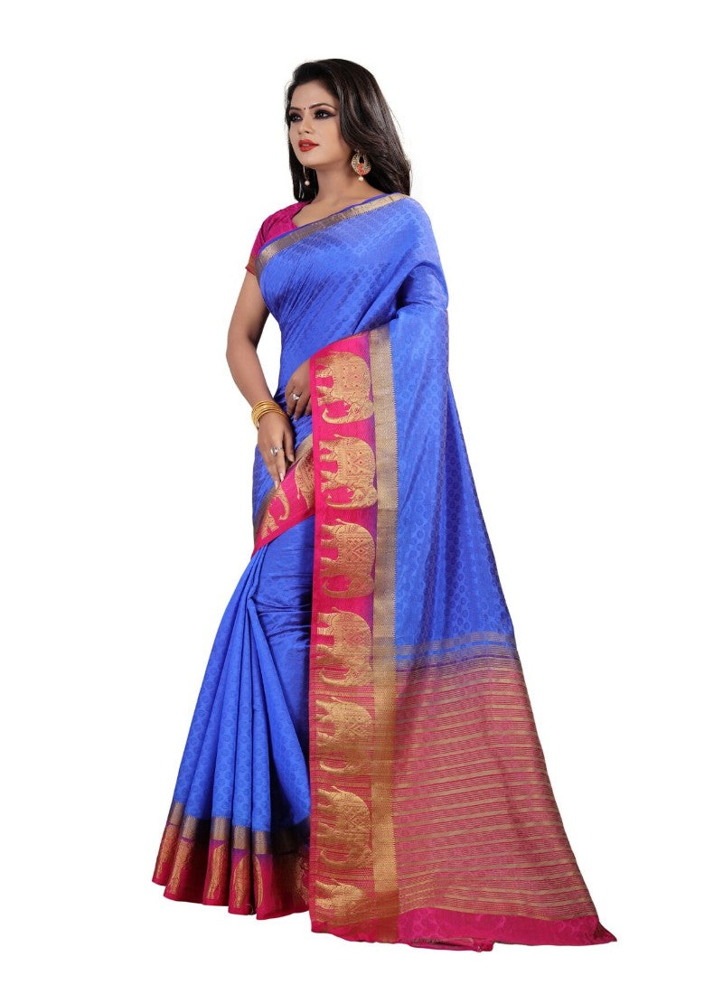 Blue Color Printed Silk Blend Saree With Blouse
