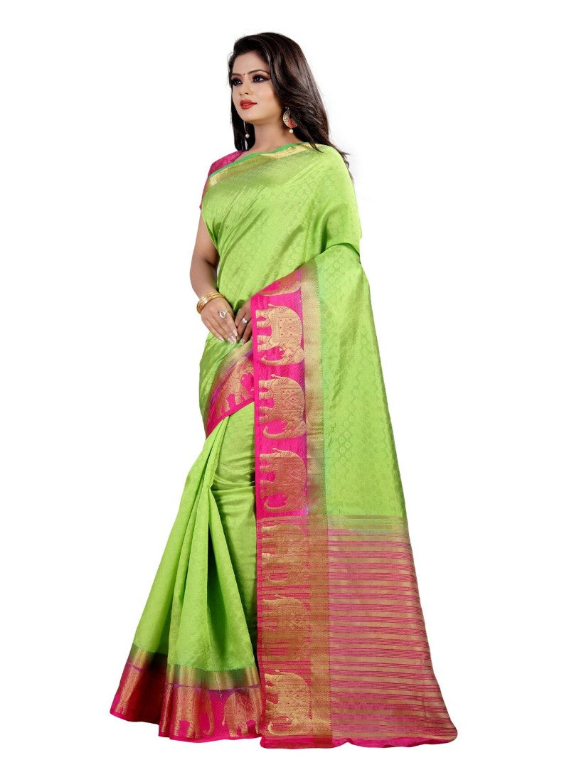 Green Color Printed Silk Blend Saree With Blouse