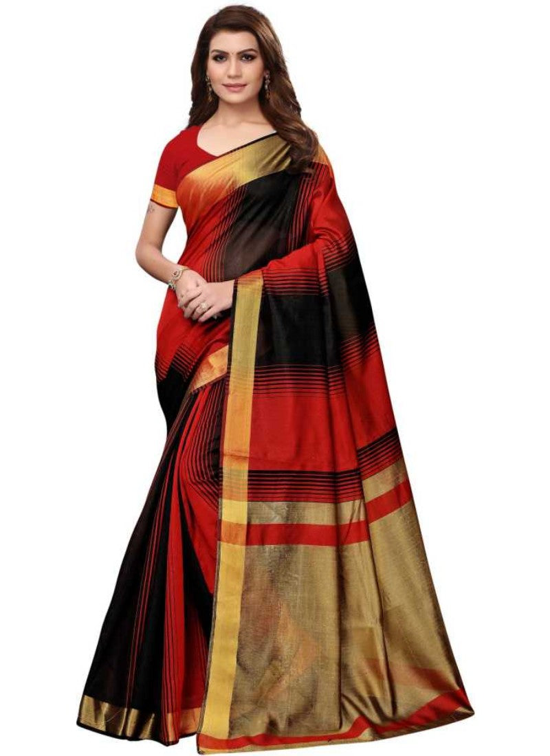 Black And Red Color Printed Cotton Silk Saree With Blouse