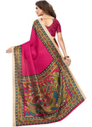 Pink Color Printed Khadi Silk Saree With Blouse